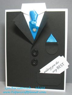 Since Father's Day and weddings are just around the corner, I thought you'd enjoy this card tutorial from a bunch of years ago! This was created for Paper Craft Planet's Tuesday group back in. Tuxedo Card, Birthday Cards For Men, Male Birthday, Beautiful Handmade Cards, Fathers Day Cards, Pop Up Cards, Masculine Cards, Card Tags, Creative Cards