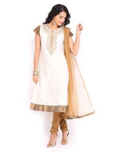 Buy SPANDANA Women Off White & Brown Anarkali Churidar Kurta With Dupatta - 553 - Apparel for Women - 375082
