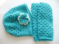 Aqua Crocheted Leg Warmers & Matching Hat by ACCrochet on Etsy, $25.00
