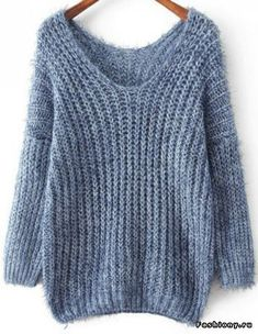 Shop Blue V Neck Long Sleeve Mohair Loose online. Sheinside offers Blue V Neck Long Sleeve Mohair Loose Sweater & Baggy Sweaters, Winter Sweaters, Sweater Weather, Knitting Wool, Easy Knitting, Knitting Patterns, Mohair Sweater, Loose Sweater, Pull Crochet