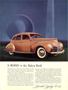 1938 Lincoln Zephyr...as modern then as the Trylon and Perisphere of the World's Fair behind it...