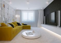 Mellow Yellow: 7 Soothing Apartments with Sunny Accents Small Living Room Design, Simple Living Room, Small Living Rooms, Living Room Modern, Interior Design Living Room, Living Room Designs, Living Room Decor, Beige Sofa Living Room, Yellow Sofa