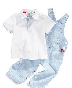 anchor detail! Two-Piece Polo Shirt and Striped Overalls - Kids Baby Boy (0-24 months) - Macy's