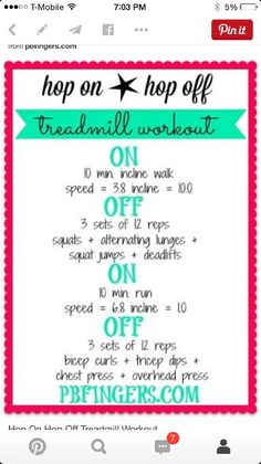 In and off treadmill workout