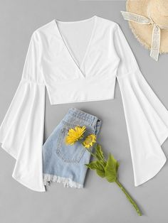 SheIn offers Fluted Sleeve Surplice Tee & more to fit your fashionable needs. Source by rophotodesignllc outfits verano Girls Fashion Clothes, Teen Fashion Outfits, Cute Fashion, Girl Fashion, Girl Outfits, Fashion Dresses, Crop Top Outfits, Cute Casual Outfits, Pretty Outfits