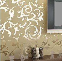 Online Shop Modern Victorian Damask Flock Velvet Textured Wall paper Gray Gold Wallpaper Home decoration Wall Art WP011|Aliexpress Mobile