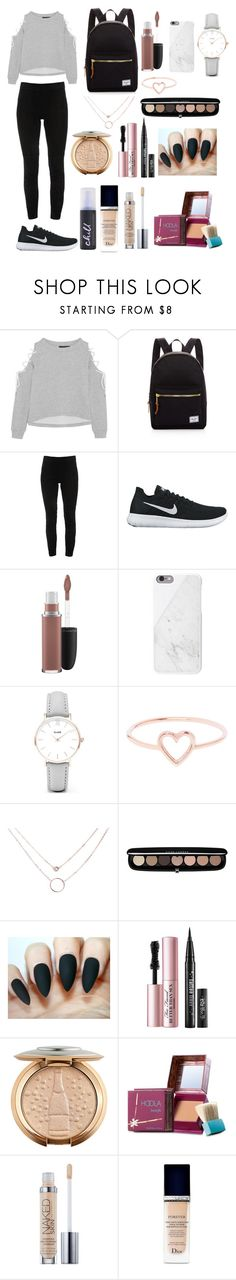 """""""Untitled #58"""" by xdhx16 ❤ liked on Polyvore featuring W118 by Walter Baker, Herschel Supply Co., Elie Tahari, NIKE, MAC Cosmetics, CLUSE, Love Is, Marc Jacobs, Too Faced Cosmetics and Benefit"""