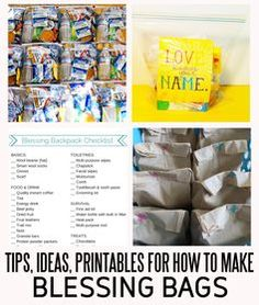 Tips, ideas and printables for how to make blessing bags