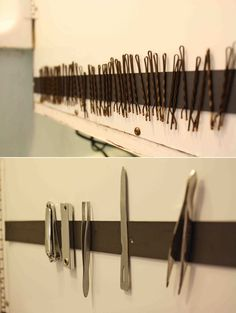 Hang bobby pins and other metallic equipment on magnetic strips, which you can stick on the backing of your medicine cabinet.