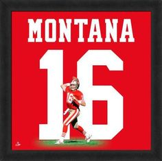 Featured is a Joe Montana framed San Francisco 49ers jersey photo. This photo has been professionally framed and is approximately 20x20. **Note: This photo is not signed.**
