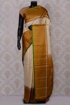 #Cream graceful #kanchipuram silk #saree with brown border-SR18633 -#PURE KANCHIPURAM SILK SAREE #Sarees