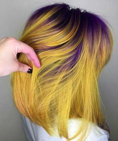 17 Of The Iconic Purple to Warm Yellow Bright Hair Color Ideas to Try Right Now – yellow hair Yellow Hair Color, Bright Hair Colors, Cool Hair Color, Purple Yellow, Unique Hair Color, Pulp Riot Hair Color, Coloured Hair, Dye My Hair, Hair Colors