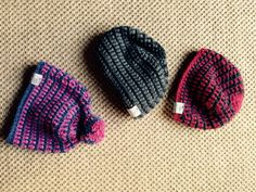 Look! 3 of the 5 Hita Hats I have crocheted so far!