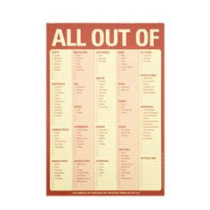We use this every Sunday as we stand in front of the fridge. On the back, we write each dinner for the week.     The Container Store > All Out Of Checklist Pad