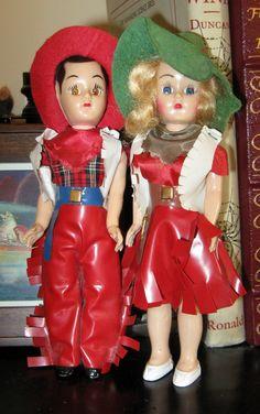 vintage cowboy & cowgirl 1950's dolls