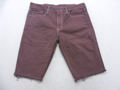 a6fd761b2410 Mens Burgundy Dyed Denim Levi s 511 Cut Off Bermuda Jean Shorts Size 33 W  by KCteedesigns