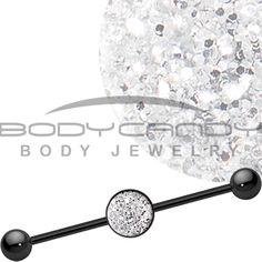 Diamond Dust Glitter Industrial Barbell #industrial #piercing #bodycandy #silver #glitter #beauty