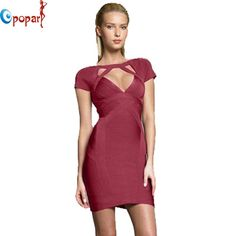 Sexy V-Neck Short Sleeve Celebrity HL Bandage Dress Elastic Purple Stretch Party Mini Back Zipper Dress Drop Ship HL1952