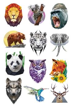 Polygonal Temporary Tattoo Set You'll love this beautiful line of geometric shapes featuring your favorite animals from the majestic wolf to the powerful gorilla. Series of 12 tattoo designs include: Bear Lion Deer Elephant Fox Gorilla Hummingbird Koala Panda Owl Tiger Wolf $10 for Series of 12 Temporary Tattoos Inclu