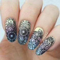 Cool floral #nailstamping, nice and tidy nail design, more details shared in bornprettystore.com.  #bornpretty. #stampingnailart