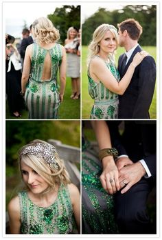 Emerald green is the Pantone color of the year for 2013.  I am green with envy over this gorgeous art deco gown. #WeddingTrends2013