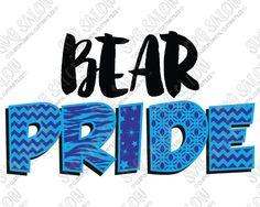 Bear Pride Patterned Chevron, Star, Zebra, and Quatrefoil Sports Team Fan Custom…