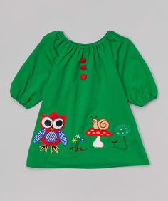 Look at this Green Owl Appliqué Puff-Sleeve Dress - Toddler & Girls on #zulily today!