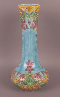 Marvelous Antique French Art Nouveau Majolica Vase by D'ONNAING DU NORD #ArtNouveau #DONNAINGDUNORD
