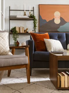 Blue And Orange Living Room, Colourful Living Room, Eclectic Living Room, Living Room Accents, My Living Room, Living Room Furniture, Living Room Designs, Bright Living Rooms, Interior Design Living Room