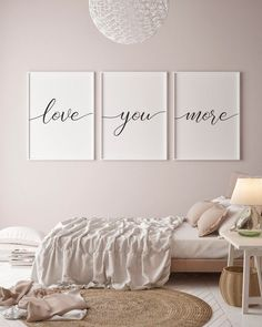 Bedroom Wall Decor Over The Bed Love You More Sign Romantic Quote Print Set of 3 Prints Above Bed Quote Couples Quote Bedroom Posters by WallDecorIdeas Bedroom Wall Decor Above Bed, Bedroom Signs, Bed Wall, Bedroom Wall Quotes, Bedroom Pictures Above Bed, Couple Bedroom Decor, Above Headboard Decor, Dining Room Sets, Bed Quotes