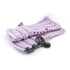 Lacy ruffle mitts, crochet wool handwarmers, romantic gloves, pastel fingerless mittens lilac amethyst purple, uk seller, spring accessories