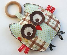 Stanley the Patchwork Owl Crinkle Toy comes with Detachable Organic Wood Teething Ring