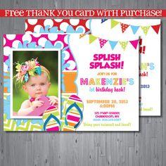 splash party Birthday Invitation, first birthday party invitation, pool party, party invitation printable, FREE thank you card