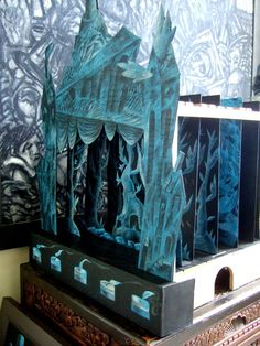 """""""""""What I love about toy theatre is that its limitations leave room for the imagination to engage with ideas."""" - Clive Hicks-Jenkins (Image: The Dark Movements Toy Theatre by Clive Hicks-Jenkins)"""
