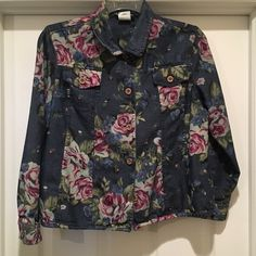 Floral denim jacket Perfect condition Sharon Anthony Jackets & Coats