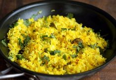 Golden Rice with turmeric, lemon and mustard seeds. Use cooked brown rice, quinoa or millet or couscous for variation. Leftover Rice Recipes, Rice Recipes Vegan, Cooking Recipes, Healthy Recipes, Gif Recipes, Vegetarian Recipes, Vegan Meals, Vegan Food, Vegan Vegetarian