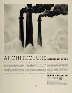 1936 Ad McCann Erickson Advertising Smoke Stack Factory - ORIGINAL FT4