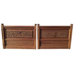Pair of Heavily Carved Solid Mahogany Twin Headboards | From a unique collection of antique and modern beds at https://www.1stdibs.com/furniture/more-furniture-collectibles/beds/
