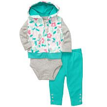 Carter's Girls 3 Piece Printed Microfleece Vest with Hood, Bodysuit and Pant Set