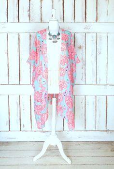 Light blue/green butterfly print handmade sheer kimono cardigan ...