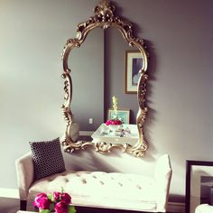 #homesensestyle gold mirror in living room