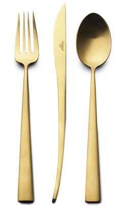 DUNA MATTE GOLD 24 PIECES SET by Cutipole - I saw this in Chicago at Unison. posate dorate #cutlery