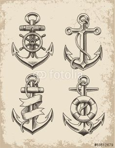Vector: Hand Drawn Anchor Set