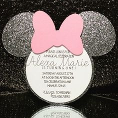 Check out this item in my Etsy shop https://www.etsy.com/listing/454313272/minnie-mouse-invitation-pink-and-silver