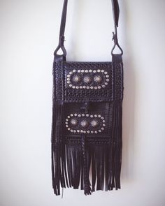 Moroccan fringed leather bag