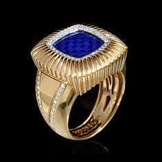 Men's Ring Illusion.Yellow gold, Enamel, Diamonds. Matching cuff-links. - buy in Mousson Atelier