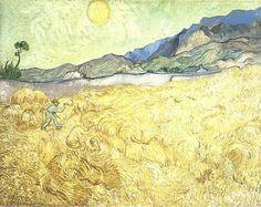 Van Gogh, Wheat Fields with Reaper at Sunrise, September Oil on canvas, 73 x 92 cm. (via Van Gogh: The Life) Vincent Van Gogh, Van Gogh Museum, Art Van, Paul Gauguin, Fleurs Van Gogh, Van Gogh Arte, Van Gogh Pinturas, Van Gogh Paintings, Artwork Paintings