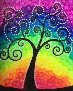 View Paint and Sip Artwork - Pinot's Palette Rainbow Painting, Mandala Painting, Rainbow Art, Dot Painting, Painting Studio, Soft Pastel Art, Paint And Sip, Cool Paintings, Whimsical Art