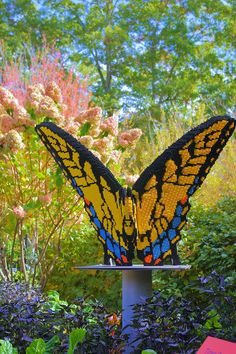 Giant lego butterfly sculpture in the NC Arboretum gardens in Asheville