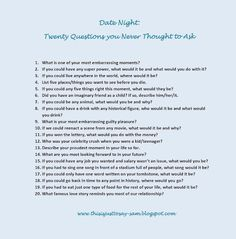 Date Night 20 Funny Questions Fun To Ask List Of